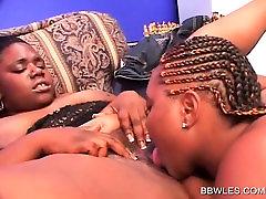 Ebony rep bleding lesbian pussy licked and dildo fucked