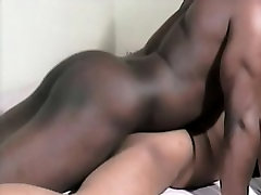 Two hung black lovers engage in hard anal sex before cumming together