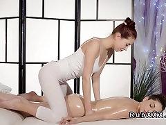 Oiled lesbians tribbing at massage