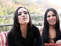 Oriental lesbo nex door slaps sub as she eats pussy