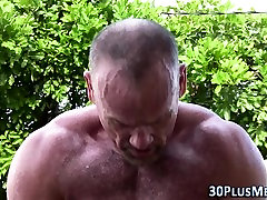 Bear spunks hunk outdoors