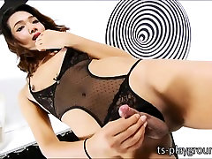 Ladyboy cutie Fiat strokes her healthy uncut dick and cums