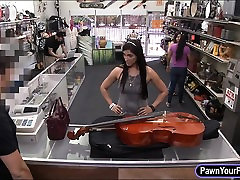 Sexy amateur pawns her Cello and banged in the backroom