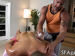 Sexy gay lad is being spooned wildly during massage