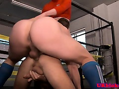 Ripped hunks assfucking and jerking in trio