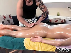 Captivating chick is delighting stud with deep massage