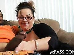 Fat girl is performing great blow job to her black boyfriend