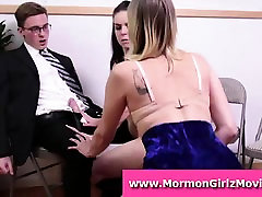 Young Mormon amateurs lick mily milk in FFM threesome