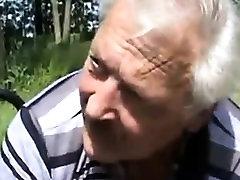 Blonde slut asslicking oldman and swallow cum