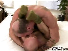 Bear drenches ass in cum