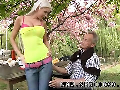 Girl young and old oral Paul is enjoying his breakfast in th