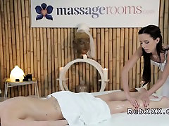Short haired blonde gets ass swipe massage