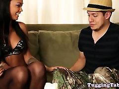 Ebony handjob loving slut sucking dick