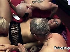MILF Emma Butt has group lick pornstar in her glasses