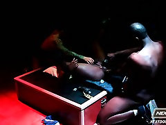 Intense interracial stripper sex on display for an audience