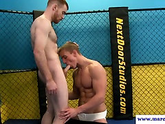 Beefy straight guy sucks dick at the fighting ring