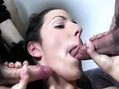 Oiled up hooker sucks cocks and gets bukkaked