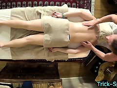 Blonde teen oily massage