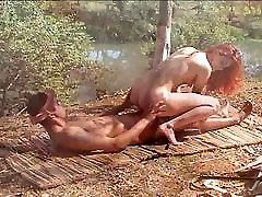 Redhead Latina outdoor anal fucking