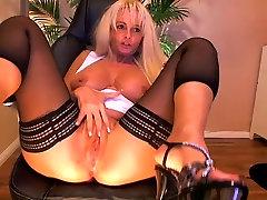 Big tit blonde bus girl barjas playing on cam - Part II