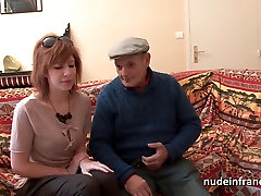 French redhead babe anal fucked in threeway with Papy