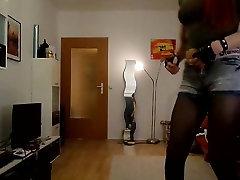 Sandralein33 Smoking Redhead in hot short Jeans Dancing