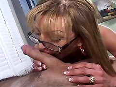 jurk instructor slut blowing cock with glasses