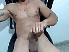 Muscular sexy latin gay jerks off and eats cum