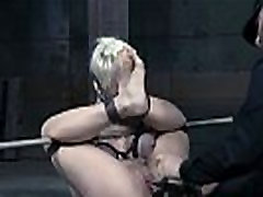 Bound bdsm sub chained and toyed by maledom