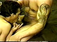 Horny gay workers doing threesome