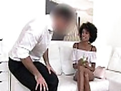 Slender tall ebony amateur bangs in casting