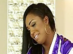 Ebony masseuse smears cum