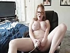 Squirting red Robin with glasses and monster tits