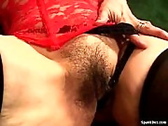 Hairy mother paid give lapdance masturbates her pussy