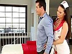 Asian masseuse Kalina Ryu in uniform fucked