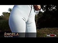Spanish beautiful teen in skinny jeans cameltoe