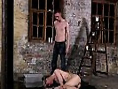 Male gay pron bondage Chained to the warehouse floor and incapable to