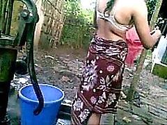 village katja ossi desi outdoor BATH nude