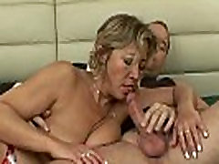 Blonde fat mature with big boob natural fucked by young lucky dude