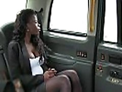 Busty ebony slut pays taxi fair with pussy