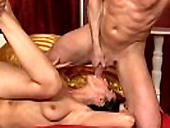 swallows black fucking for brunette horny bitch till cumshot and facial