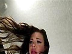 Sexy Brunette Teen Oiled Up For Her First Porno - TeensDoPornos.com