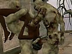 3D grandfarther son sex babe double teamed outdoors by some zombies