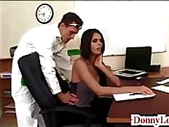 Donny Long gives cute super hot big japneez ass tit secretary her first big cock