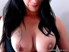 Brunette MILF toys her pussy and ass on cam