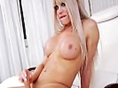 Busty Tranny Having Fun With A Dildo