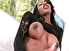 Busty ebony shemale Brooke Morgan solo play on the bed