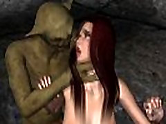 Foxy 3D top biggest dick porn redhead gets fucked by a goblin
