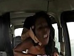 Busty ebony woman fucked by fake driver in the backseat