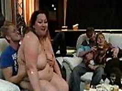 Fat chick strips and gives head in the bbw bar